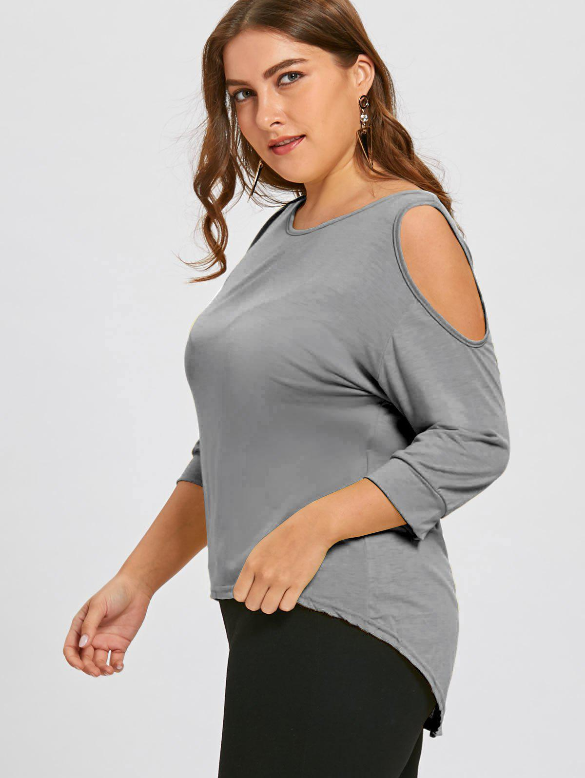 Plus Size Cutout Asymmetric Cold Shoulder Tunic Top - GRAY 5XL