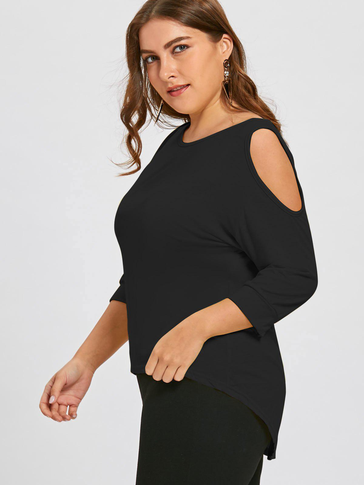 Plus Size Cutout Asymmetric Cold Shoulder Tunic Top - BLACK 2XL