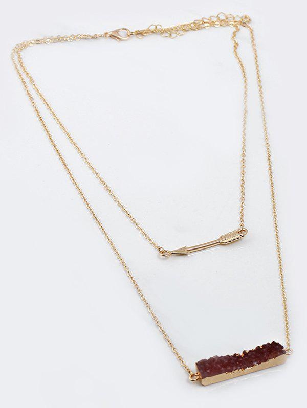 Natural Stone Arrow Layered Pendant Necklace - MOCHA