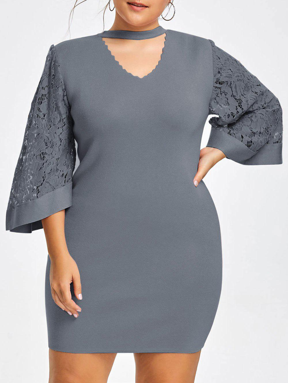 Plus Size Lace Sleeve Knitted Cutout Choker Dress - GRAY 5XL