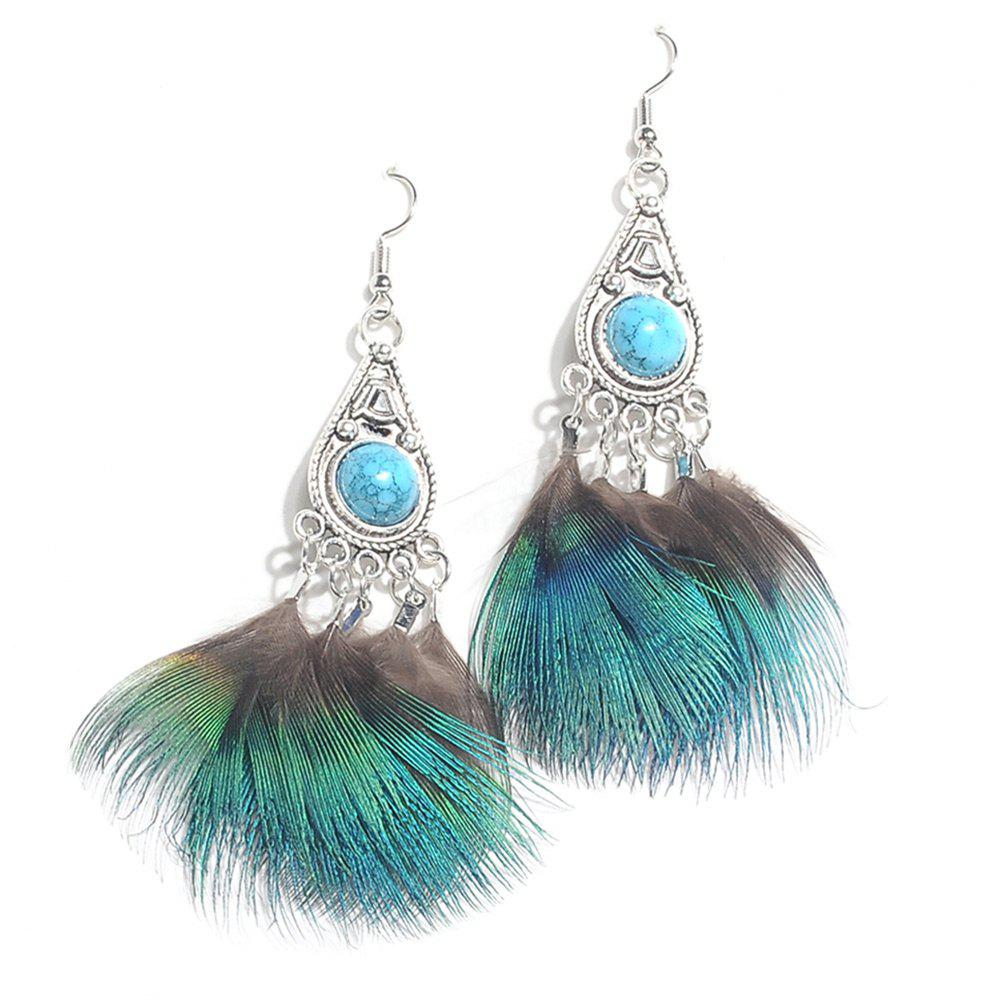 Faux Jewelry Feather Drop Earrings - GREEN