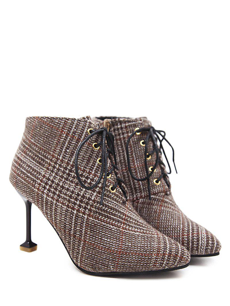 Bottines pointues en tweed pied-de-poule - BRUN 35