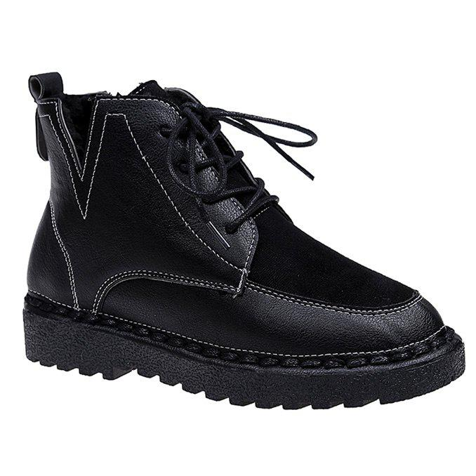Suede Panel Tie Up Ankle Boots - BLACK 39
