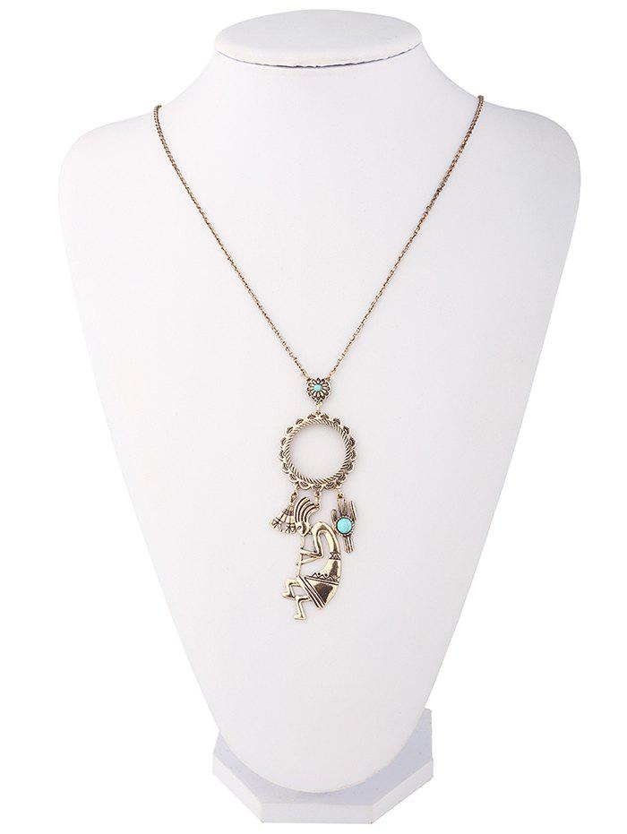 Faux Turquoise Cactus Floral Pull Chain - Or