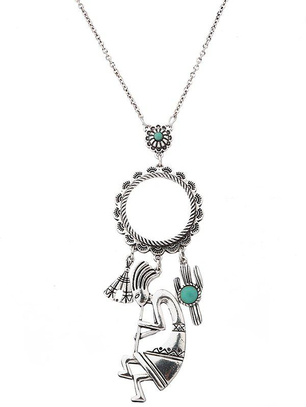 Faux Turquoise Cactus Floral Pull Chain - SILVER