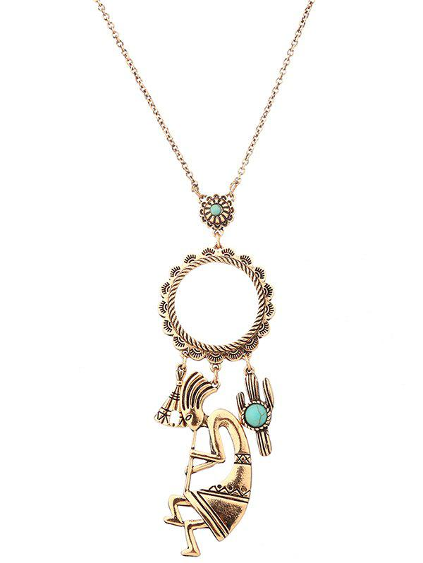 Faux Turquoise Cactus Floral Sweater Chain - GOLDEN