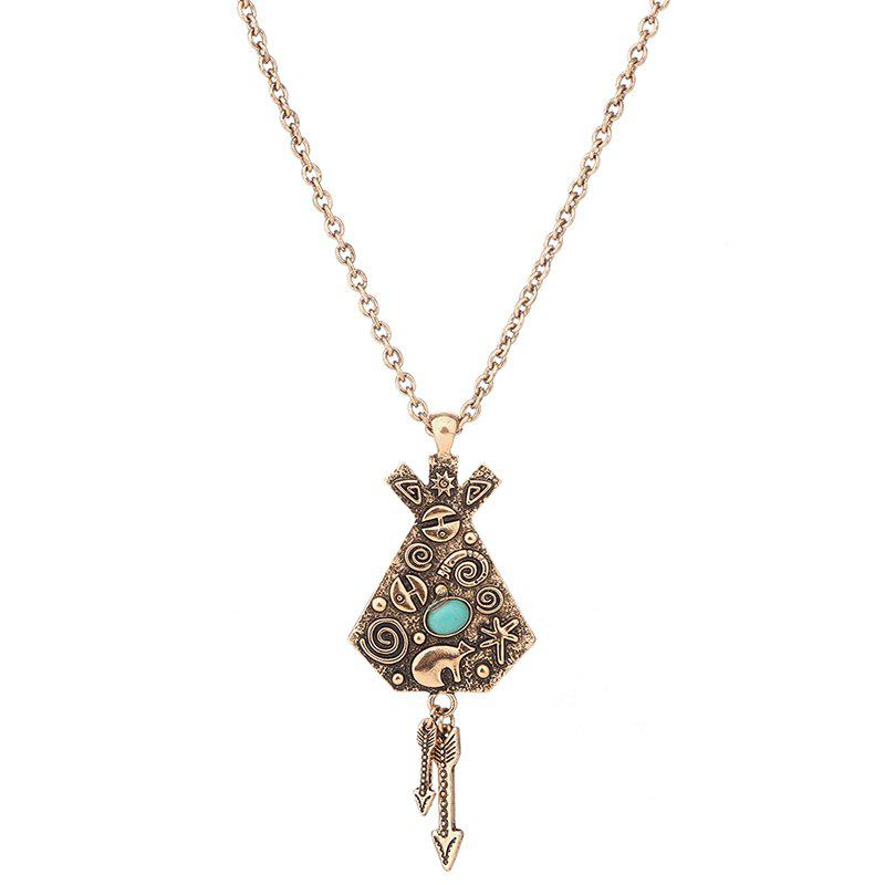 Artificial Turquoise Engraved Indian Arrow Sweater Chain - GOLDEN