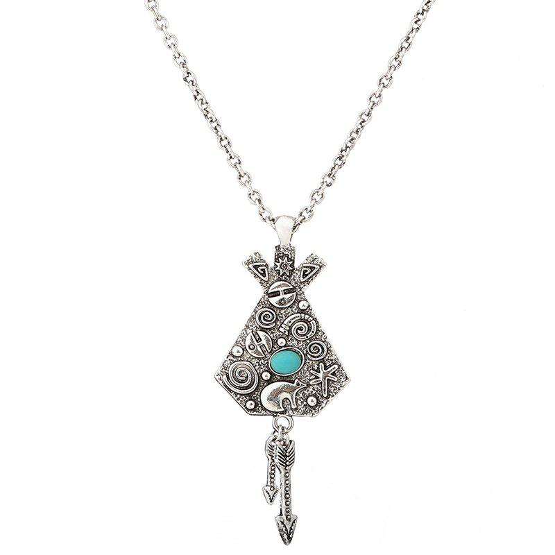 Artificial Turquoise Engraved Indian Arrow Sweater Chain - SILVER