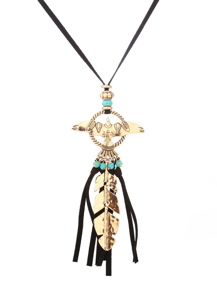 Faux Turquoise Fly Eagle Leaf Tassel Sweater Chain - GOLDEN