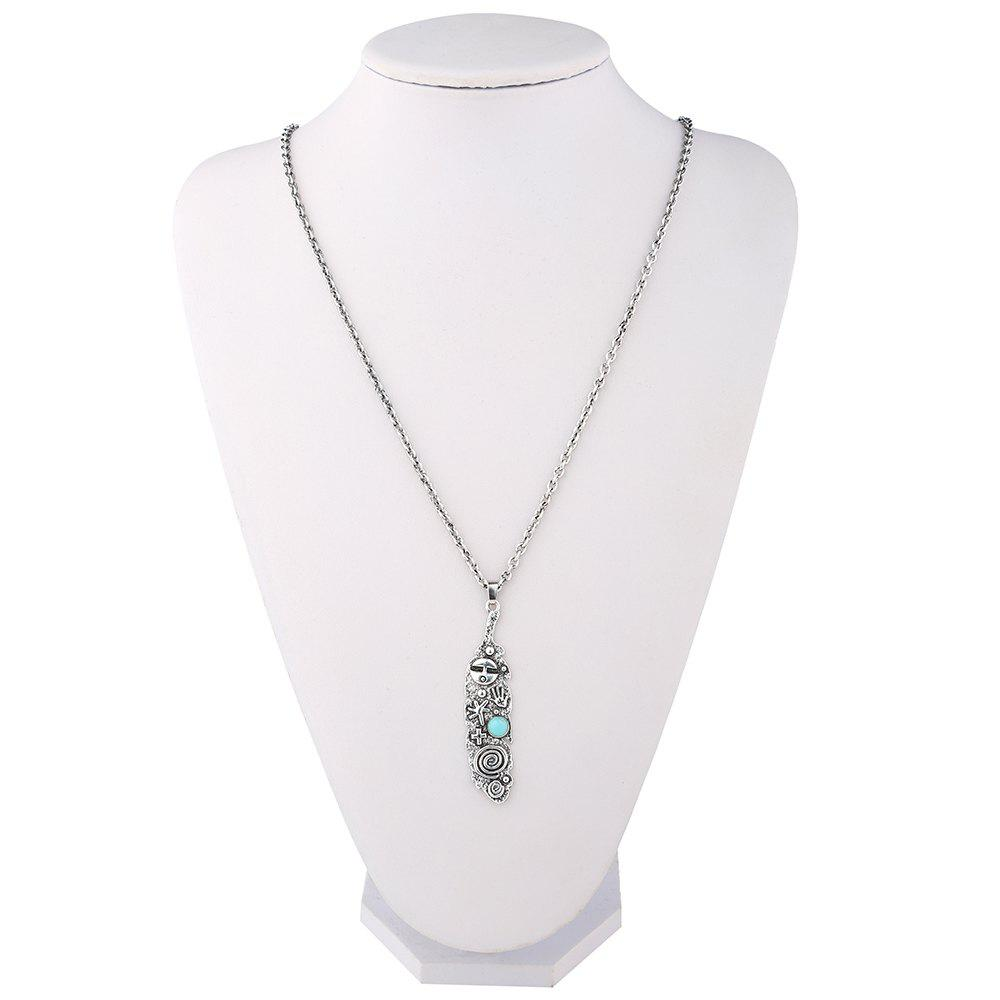 Faux Turquoise Engraved Cross Sweater Chain - SILVER