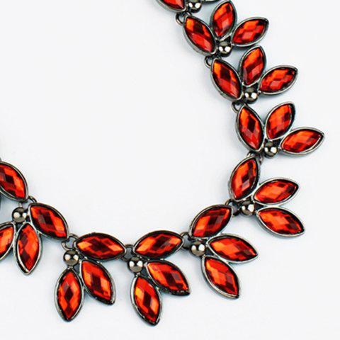 Faux Jewelry Leaves Necklace - RED