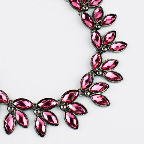 Faux Jewelry Leaves Necklace - PINK