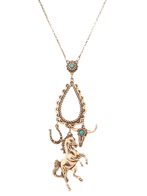 Faux Turquoise Horse Floral Teardrop Sweater Chain - GOLDEN