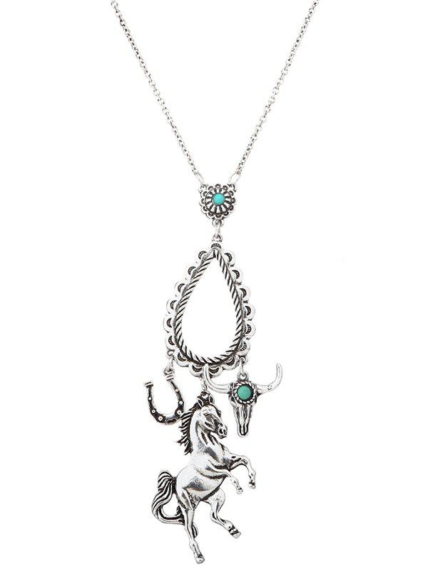 Faux Turquoise Horse Floral Teardrop Sweater Chain