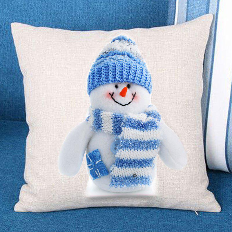 Snowman Printed Linen Throw Pillow Case linen christmas snowman printed home decor pillow case