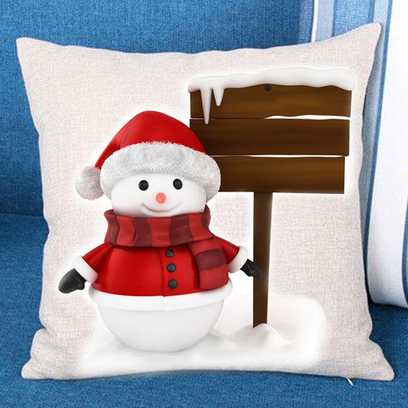 Christmas Snowman Landmark Printed Throw Pillow Case - RED/WHITE W18 INCH * L18 INCH