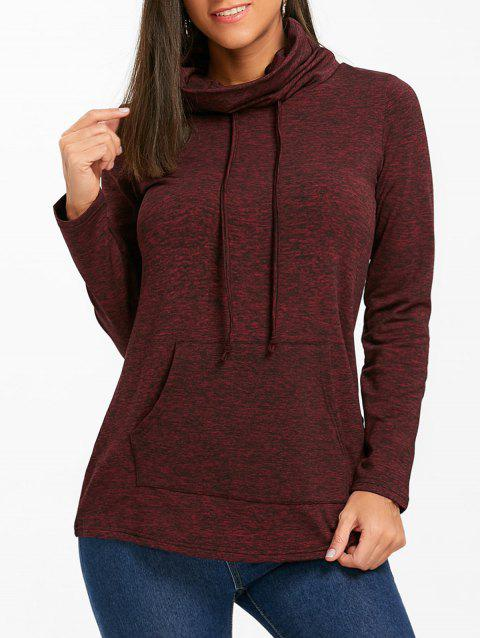 Cowl Neck Heathered Drawstring Sweatshirt - BURGUNDY S