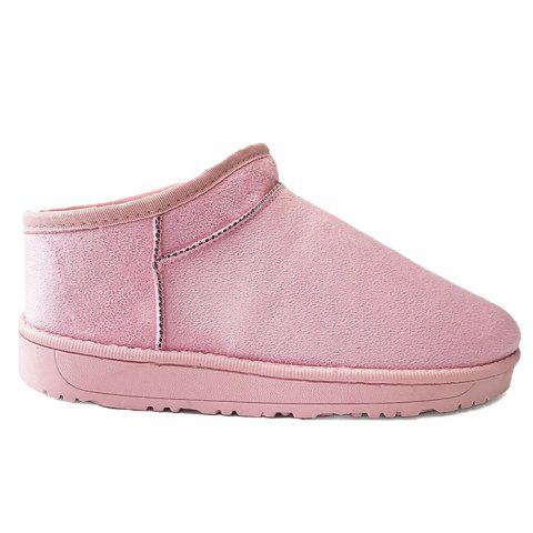 Faux Fur Lined Warm Round Toe Snow Boots - PINK 39