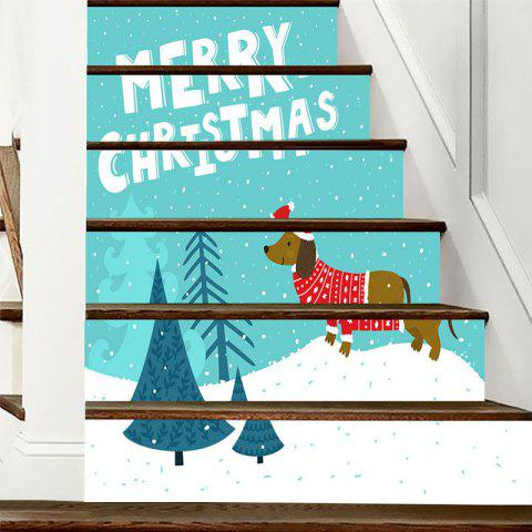 Christmas Dog Tree Letter Print Decorative DIY Stair Stickers - COLORMIX 100*18CM*6PCS