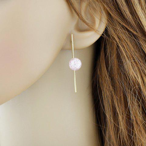 False Crystal Ball Drop Earrings - PINK