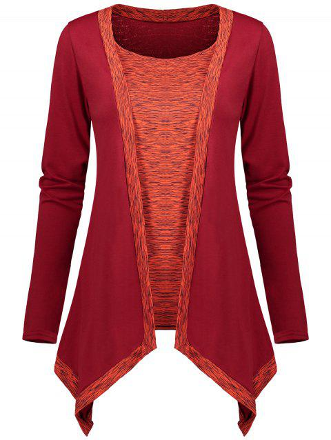 Faux Two Piece Long Sleeve Asymmetric Top - RED M