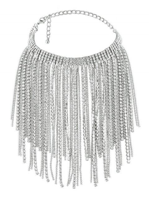 Faux Crystal Multilayer Long Tassel Chokers Necklace - SILVER