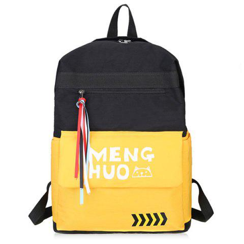 Color Block Print Letter Striped Backpack - YELLOW