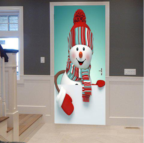 Christmas Snowman Pattern Decorative Door Stickers - COLORMIX 38.5*200CM*2PCS