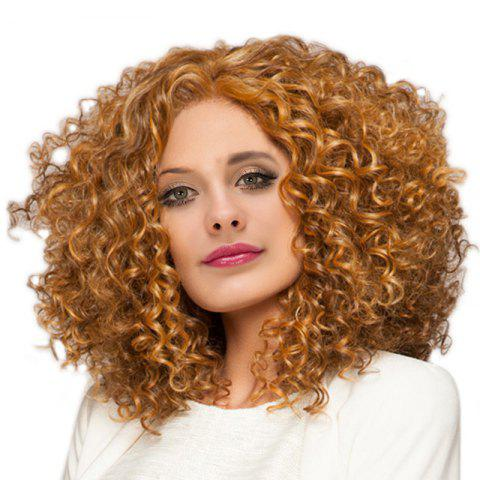 Medium Inclined Bang Shaggy Afro Kinky Curly Synthetic Wig - GOLDEN