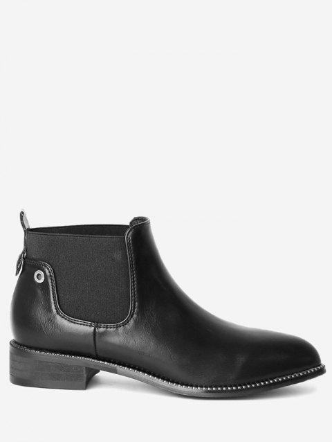 Eyelets Rivets Pointed Toe Boots - BLACK 38