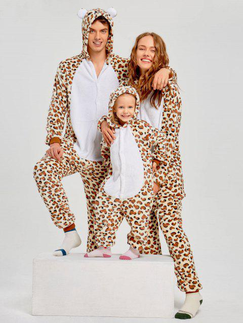Family Leopard Printed Bear Animal  Onesie Pajamas  - LEOPARD PRINT PATTERN MOM M