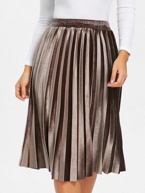 Midi High Waisted Velvet Pleated Skirt - BROWN M