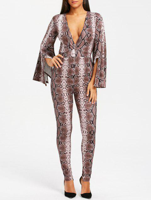 Plunging Neck Slit Bell Sleeve Snake Print Jumpsuit - BROWN L