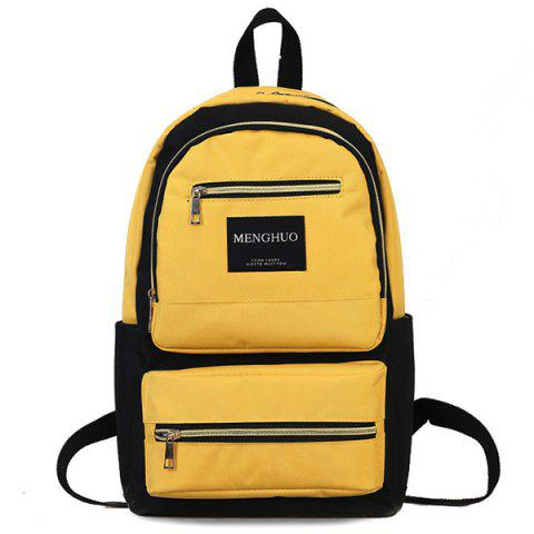 Letter Multi Pockets Backpack - YELLOW