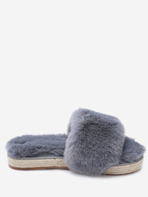 Espadrille Sole Faux Fur Slippers - GRAY 37