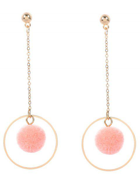 Metal Fuzzy Ball Circle Chain Drop Earrings - PINK
