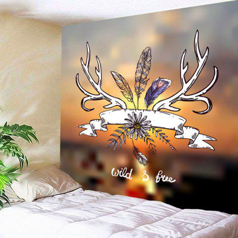 Flower Feather Print Wall Hanging Tapestry - COLORMIX W79 INCH * L71 INCH