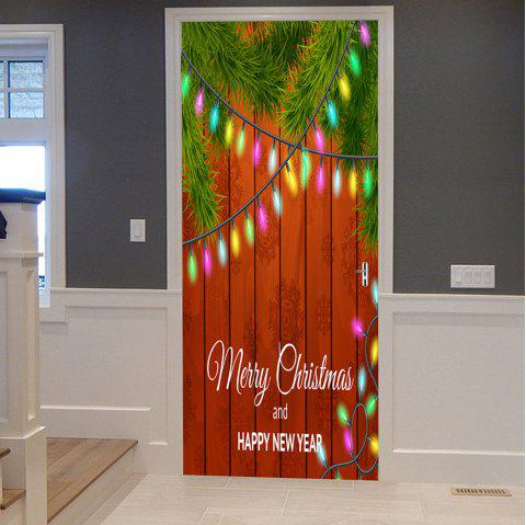 Christmas Woodgrain String Lights Motif de porte autocollants - multicolore 38.5*200CM*2PCS