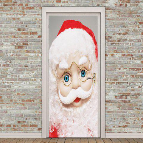 Eyeglasses Santa Claus Printed Environmental Removable Door Stickers - WHITE 38.5*200CM*2PCS