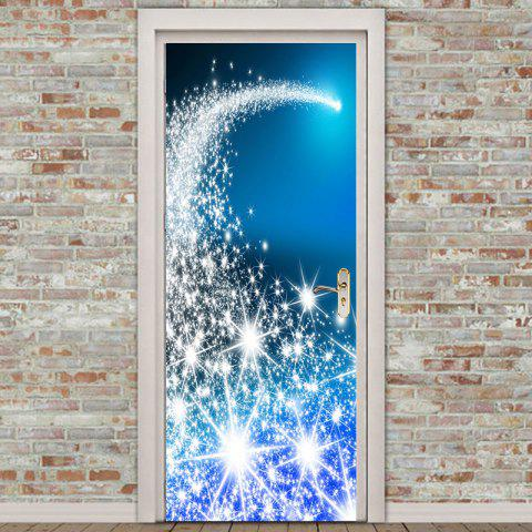 Environmental Removable Blue Starlight Christmas Tree Printed Door Stickers - BLUE 38.5*200CM*2PCS