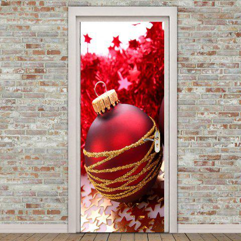 Environmental Removable Golden Stars and Red Ball Printed Door Stickers - RED 38.5*200CM*2PCS