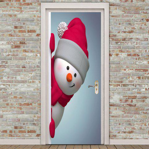 Environmental Removable Red Hat Snowman Printed Door Stickers - COLORFUL 38.5*200CM*2PCS