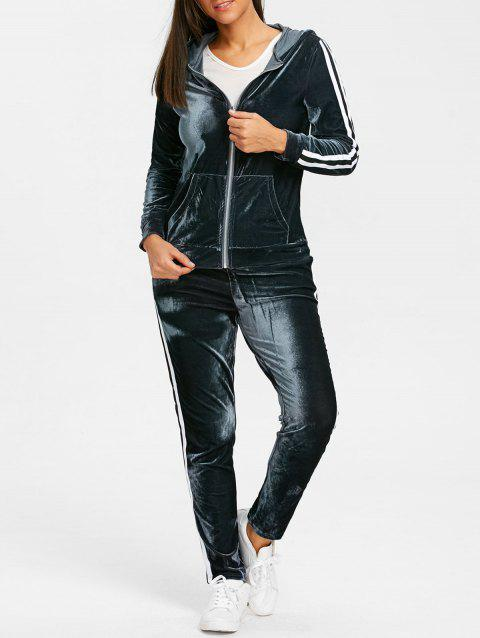 Velvet Striped Hooded Jacket with Drawstring Pants - BLUE GRAY S