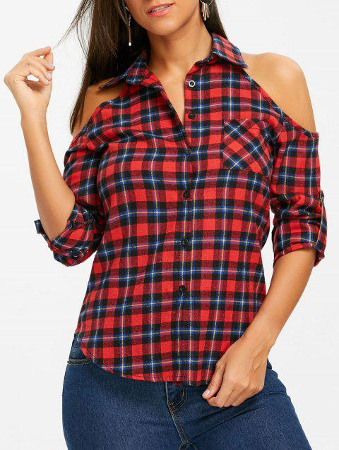 Button Up Plaid Open Shoulder Shirt - CHECKED XL