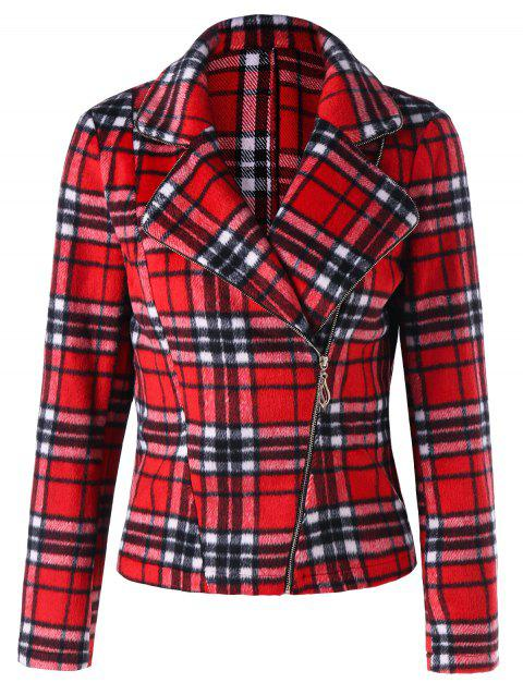 Lapel Skew Zipper Check Jacket - CHECKED L