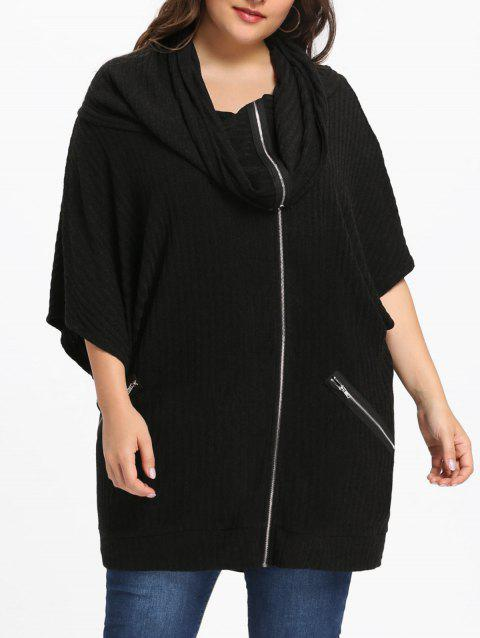 Plus Size Hooded Batwing Sleeve Coat - BLACK XL