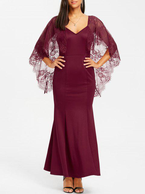 Open Back Lace Batwing Maxi Dress - WINE RED M