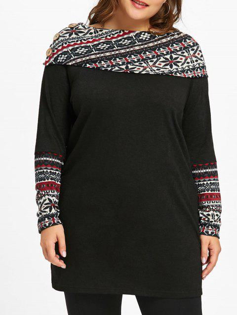 Plus Size Snowflake Panel Long Sleeve Tunic T-shirt - BLACK 3XL