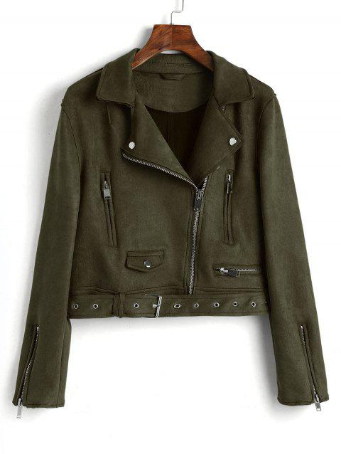 Faux Suede Zip Up Belted Jacket - ARMY GREEN M