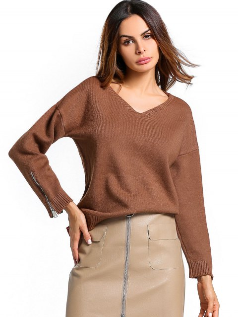 Ribbed Hem Zip Up Sleeve Sweater - BROWN ONE SIZE